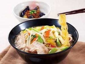 1日分の野菜のベジ塩タンメン&揚げなすのひき肉味噌和え